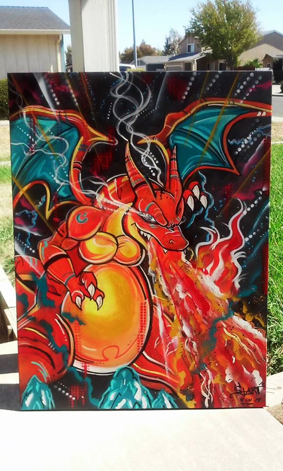 Charizard Painting by Demaries Isom aka Starv