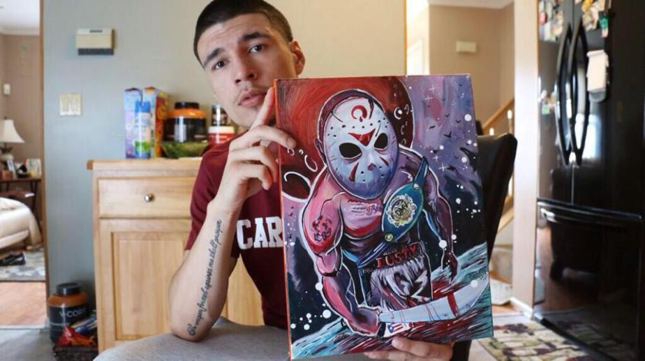 Dusty Hernandez with his Painting