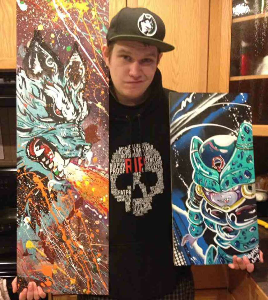 Jake from Canada with his art pieces from me Cell Jr and wolf Kamehameha
