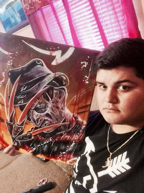 ricki with his freddy painting from me
